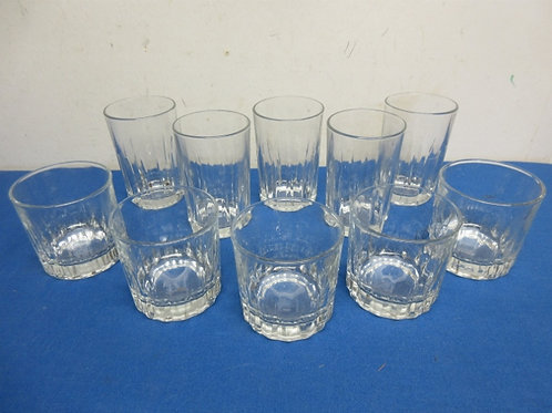Set of 10 glasses - 5 tumblers and 5 old fashion