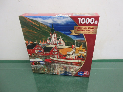 SureLox 1000 piece puzzle, seaside town, New,Sealed