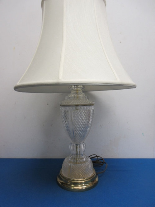 """Crystal table lamp with gold base, white bell style shade, 25"""" high"""