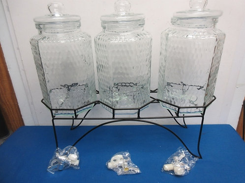 three large glass drink dispensers with metal rack/holder-New