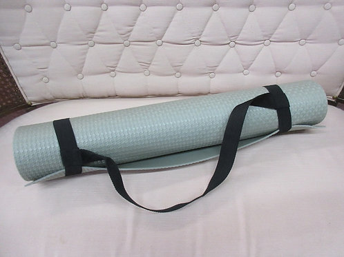 Beige yoga mat with carry straps