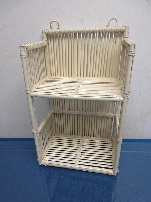 White bamboo style small hanging organizing shelf