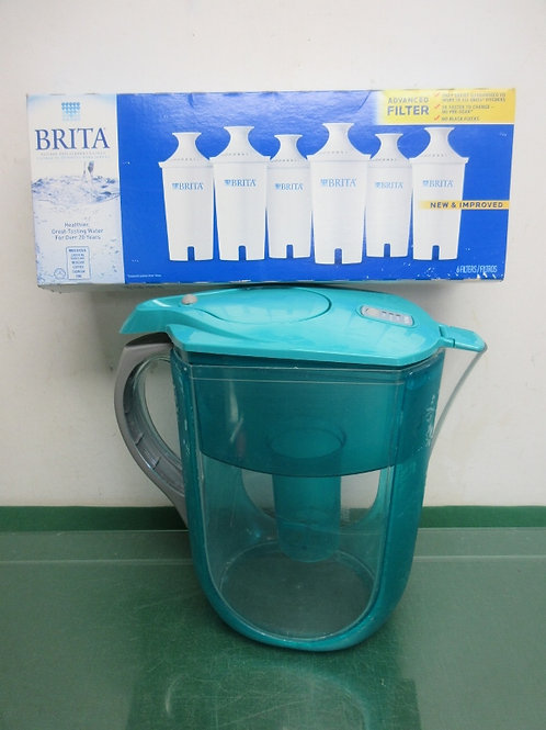 Box of 5 new Brita filters and teal plastic Brita gallon pitcher