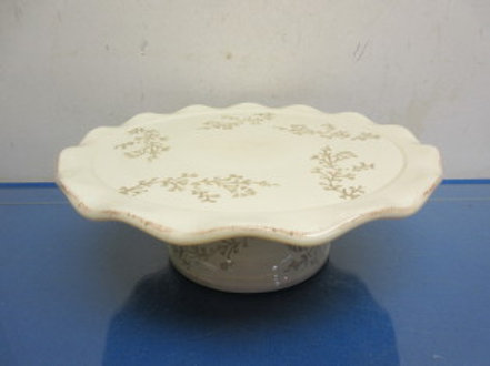 Ivory footed round cake plate with brown leaf design