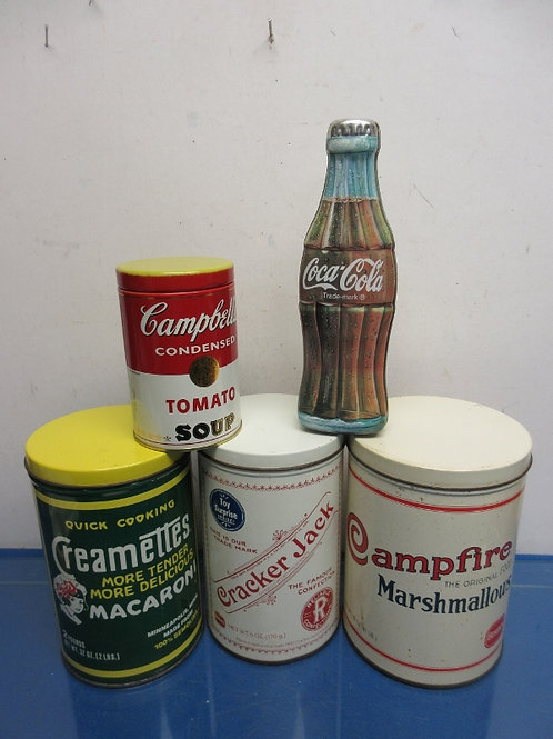 Set of 5 product tins - tomato soup, coca cola, cracker jack and others