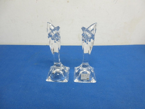 """Pair of Mikasa crystal taper candle holders from Slovenia - 6"""""""