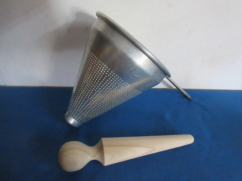 Aluminum canning strainer (cone shaped) with wood pestle