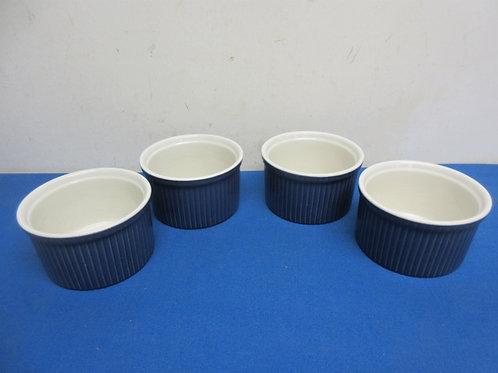 Set of 4 blue souffle bowls