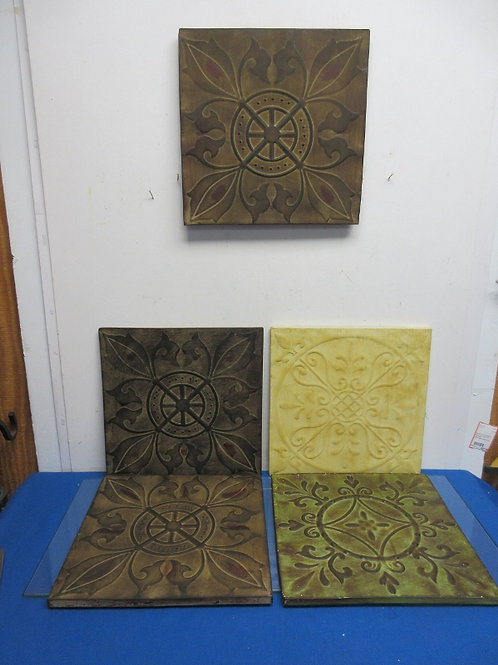 Set of 5 square metal design wall hangings