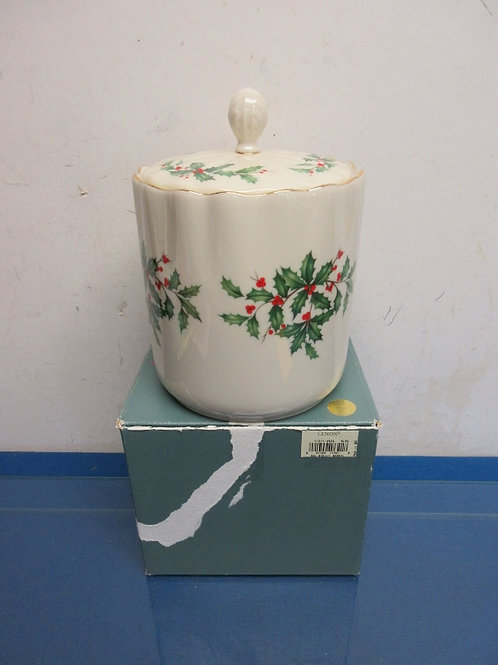 Lenox Holiday biscuit barrel with lid, in box