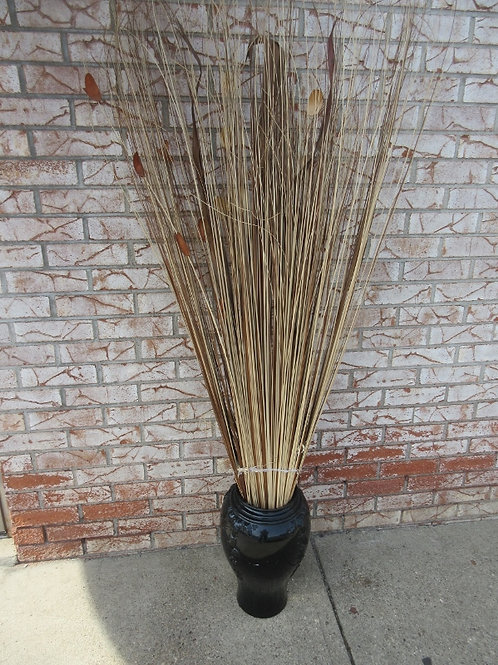 Black floor vase with bundle of 5ft decorative dried grass