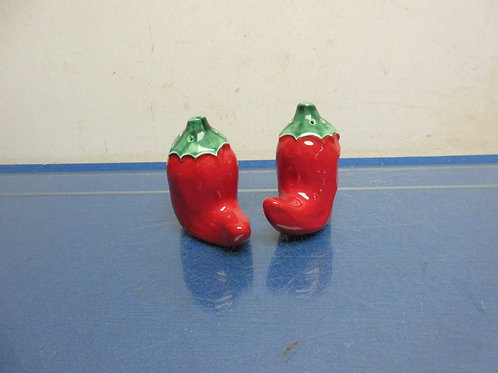 Red Chili pepper shaped ceramic salt & pepper shakers