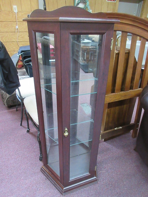 "Curio-3 sided flatback withmirrored back and 3 glass shelves 11x22x50""high"