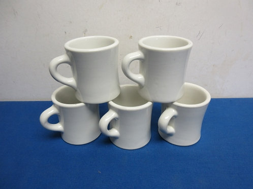 Set of 5 heavy white commercial style coffee mugs