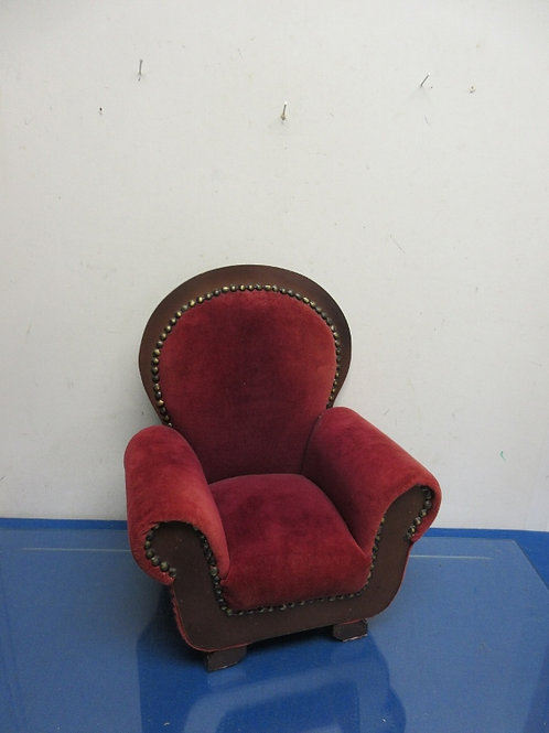 """Vintage burgundy arm chair with nail head accent for 18"""" doll"""