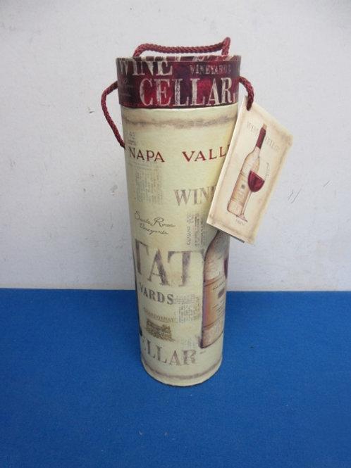Wine bottle design cylinder wine bottle holder with rope handle