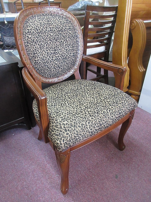 Leopard print with cherry frame accent arm chair - 2 avail
