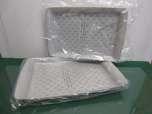 Set of 2 rectangular nonslip serving trays - gray - brand new