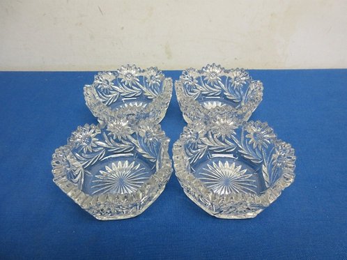 Set of 4 petite cut glass bowls