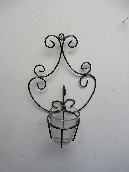 """Black metal wall sconce with glass votive holder 10"""" high"""