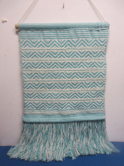 Teal & white woven wall hanging - with hanging bar