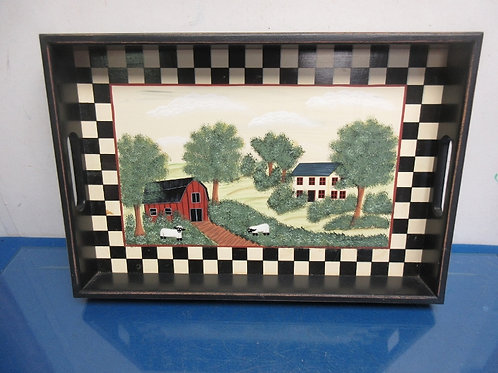 Rustic black tray with built in handles and country scene painted on tray