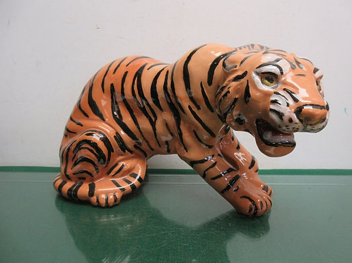 "Large tiger ceramic statue laying down-9""high x 15""long"