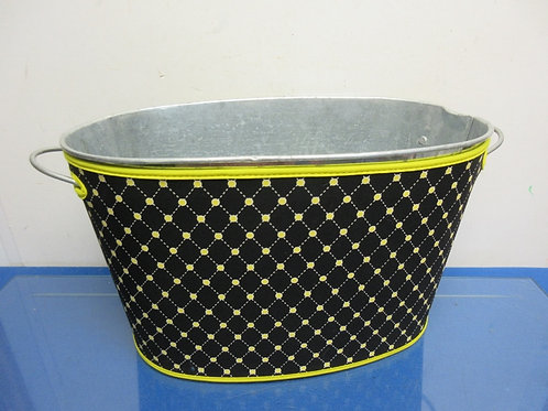 """Metal oval ice bucket with black & gold outside cover 9x16x9"""""""