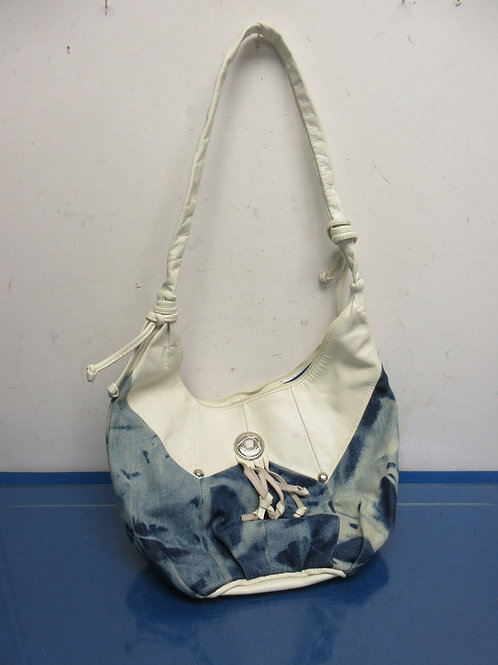 White leather and blue denim purse from Mexico