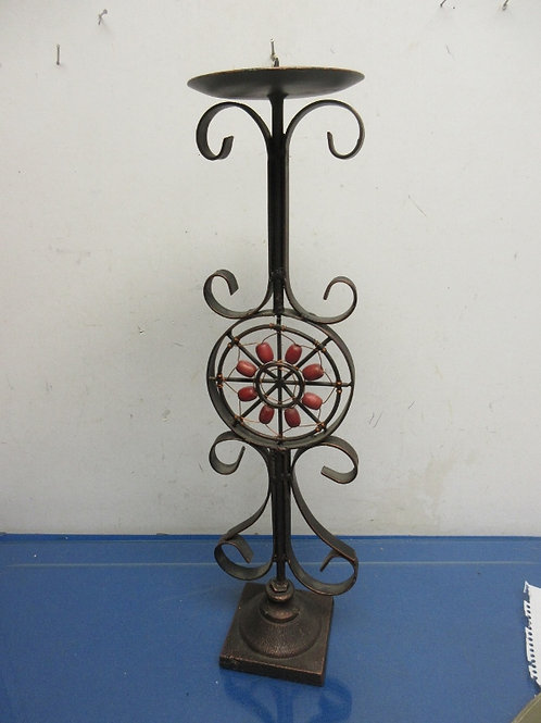 """Black metal coppertone pillar candle holder with red bead center accent - 20"""" hi"""