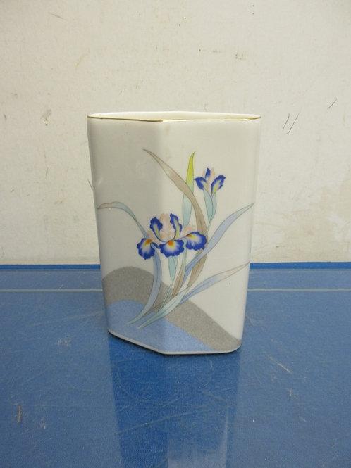 Flat ceramic small vase w/iris flowers on side