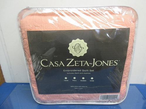 Casa Zeta-Jones Embroidered reversible king cotton coverlet quilt set w/shams- b
