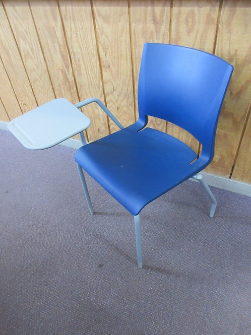 Blue and gray heavy resin chair with fold up table