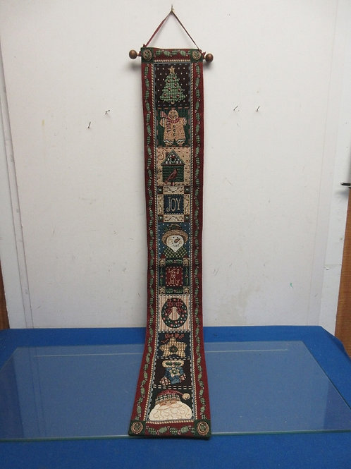 """Long narrow holiday tapestry style wall hanging, red trim, 40"""""""