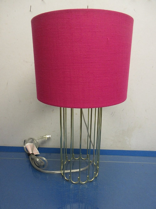 """Gold wire frame lamp with pink drum shade, 17"""" high"""