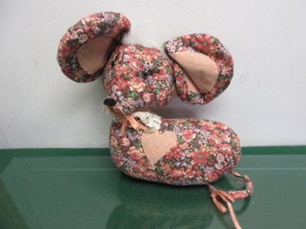 """Weighted door stop, stuffed country print mouse, 10""""x 12"""""""