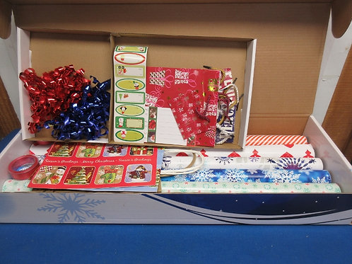 Box of assorted holiday gift wrap and accessories, brand new