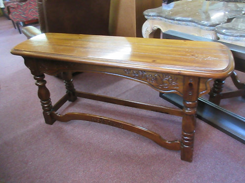"""Pine sofa table with ornate carving on the front 16.5x54x26""""high"""