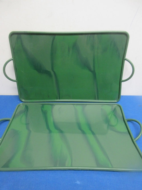 """Pair of green silicone baking trays, 10x017"""""""