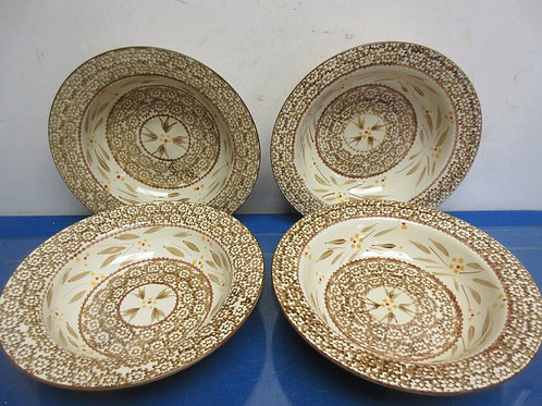 Temptations Old World brown-set of 4 large soup bowls