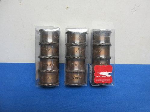 Set of 3 pkgs of napkin rings, Love joy etc, New