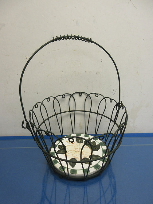 "Black wire basket with ceramic disc insert 9""dia x 6""high"