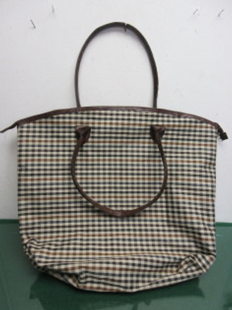 Seagull Studie large nylon brown & black checkered tote bag