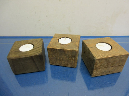 Rustic handmade log style tea light candle holders-set of 3 small-each holds 1
