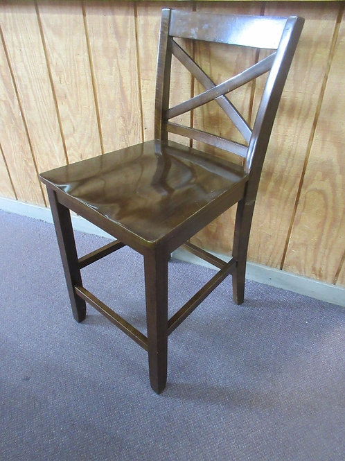 """Cherry solid wood bar stool with cross hatch back - seat 24""""high, 2 available"""