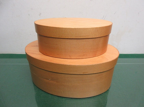 """Restore and Restyle pair of oval wood boxes w/lids-7x10x4""""deep, 5x7x3""""deep"""