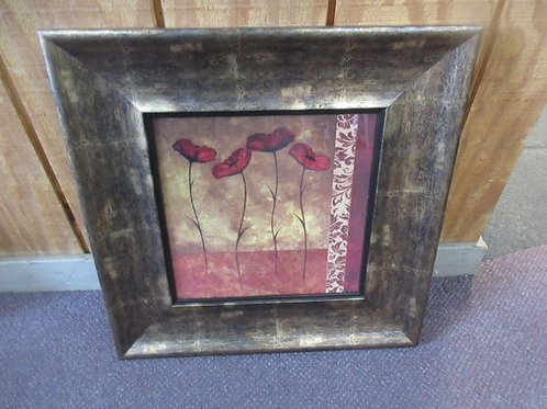 Print of 4 red flowers, wide frame