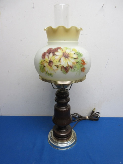 """Wooden base lamp with hurricane shade flower design 21"""" tall"""