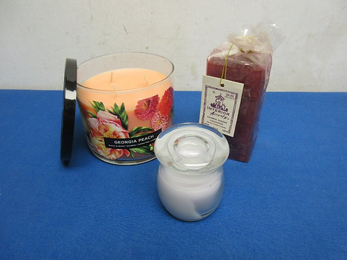 Set of 3 assorted candles, one is a 3 wick jar candle all are new