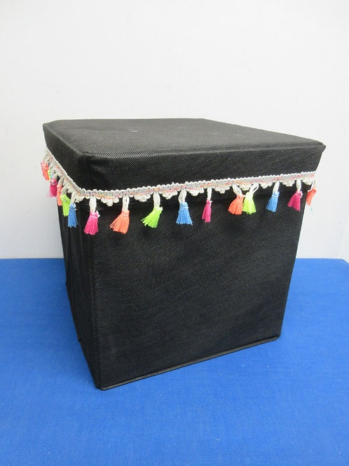 Black canvas cube storage container 12x12x12